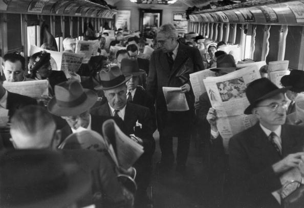 A packed carriage on a commuter train in Philadelphia.