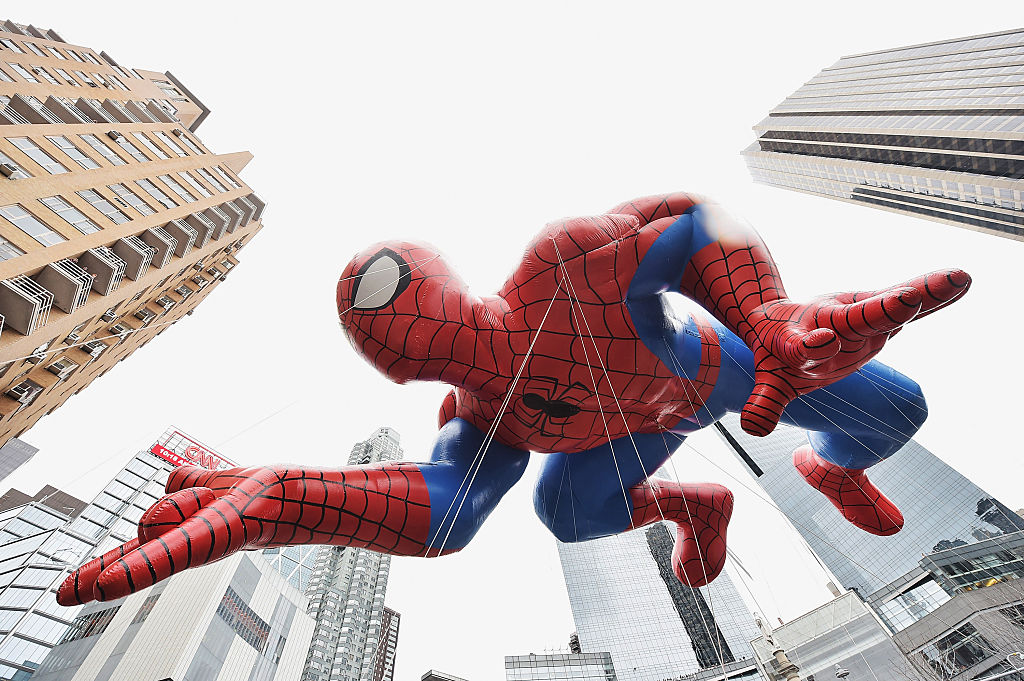 The Spiderman balloon passes by during the 88th annual Macy's Thanksgiving Day Parade