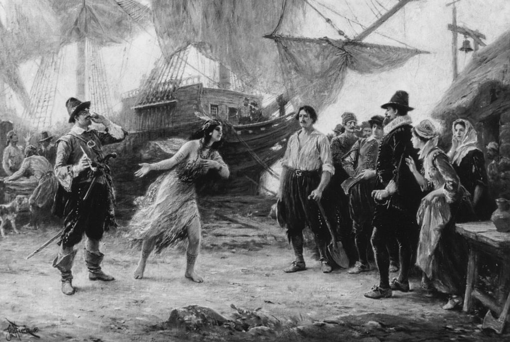 an engraving depicting the abduction of pocahontas