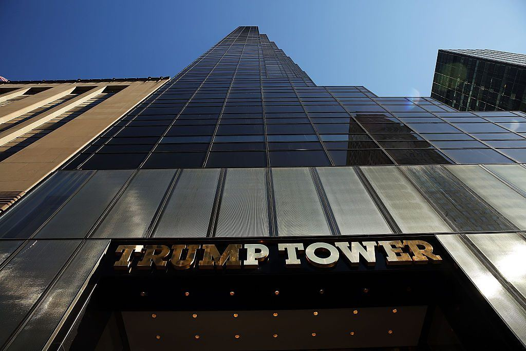 Trump Tower stands along 5th Avenue in Manhattan as police stand guard outside