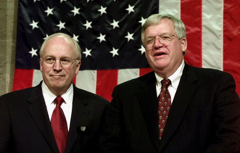 Vice President Dick Cheney(L) stands with Speaker of the House Dennis Hastert (R) prior to US President George W. Bush delivering his first address to a joint session of Congress 27 February 2001 on Capitol Hill, in Washington, DC.