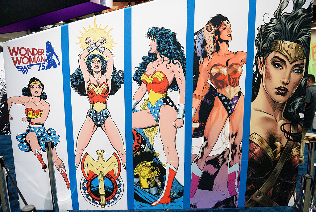 a wall of wonder woman comic images
