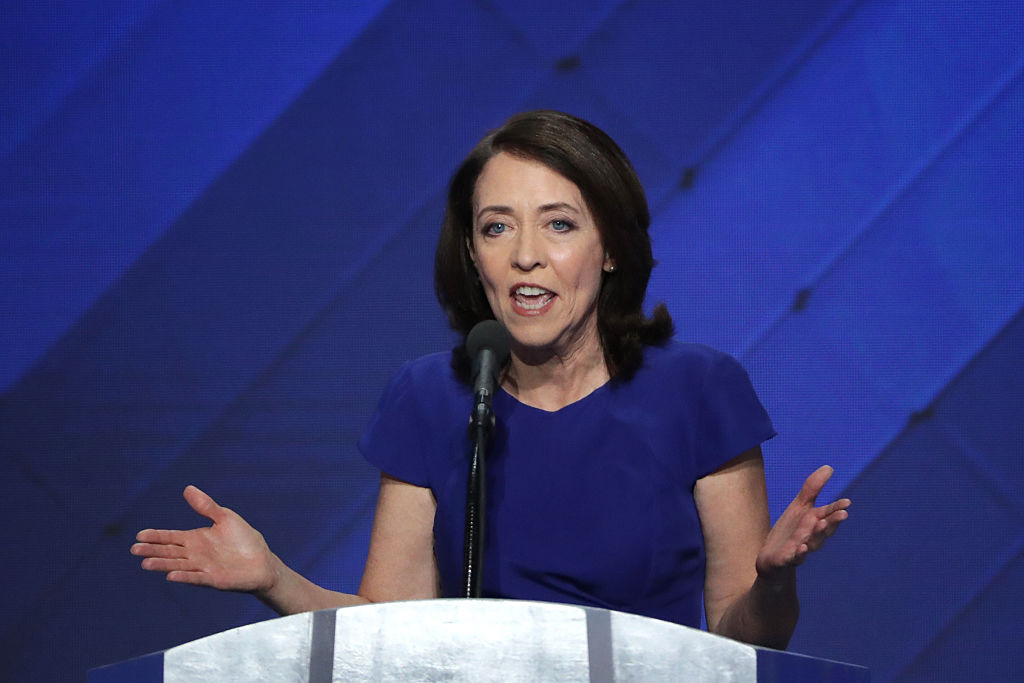 Sen. Maria Cantwell delivers remarks on the fourth day of the Democratic National Convention.