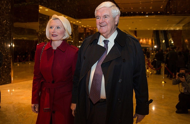 Former U.S. Rep. Newt Gingrich and his wife Callista leave following his visit with President-elect Donald Trump at Trump Tower on November 21, 2016 in New York City. President-elect Donald Trump and his transition team are in the process of filling cabinet and other high level positions for the new administration.
