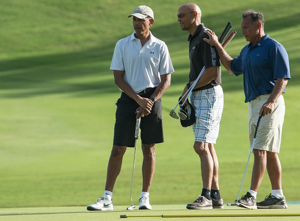 barack obama on the golf course with friends
