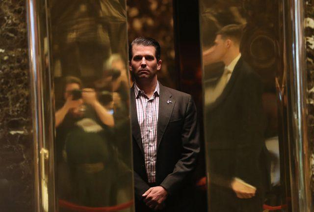 Donald Trump Jr. in an elevator at Trump Tower.