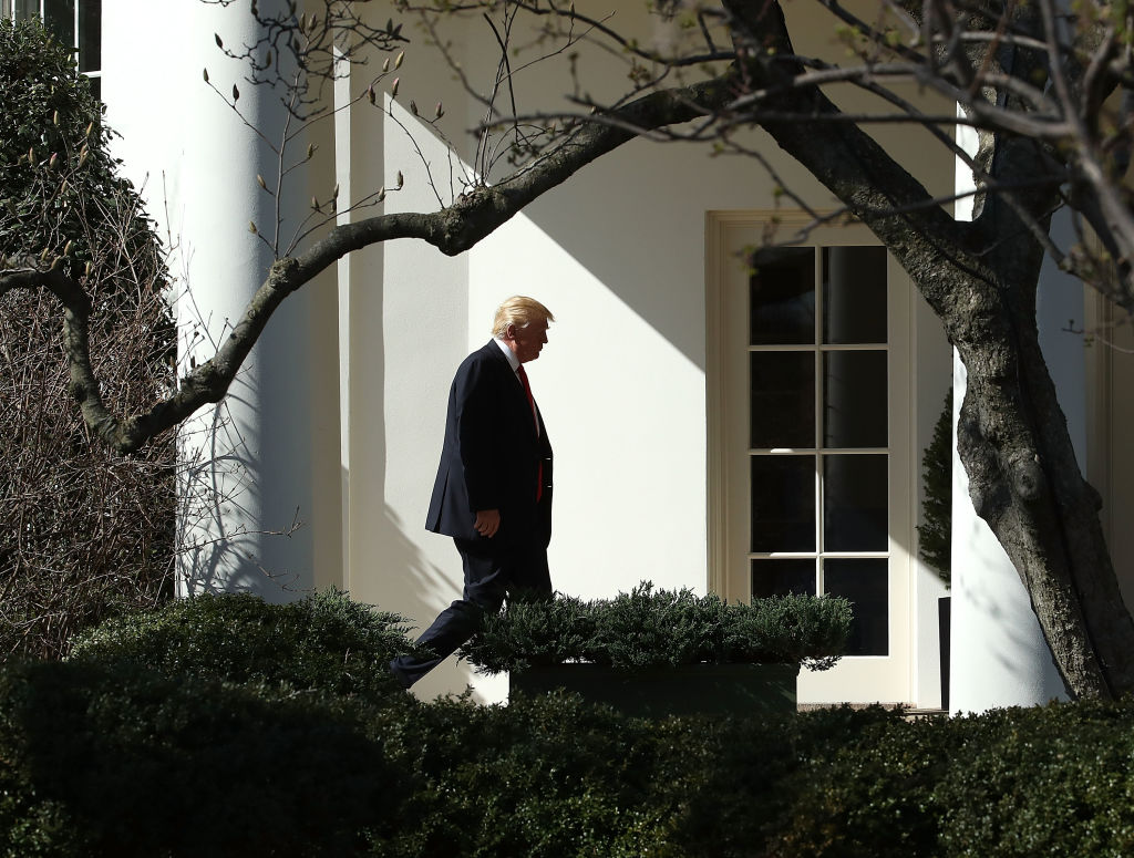trump walking outside the white house under tree branches