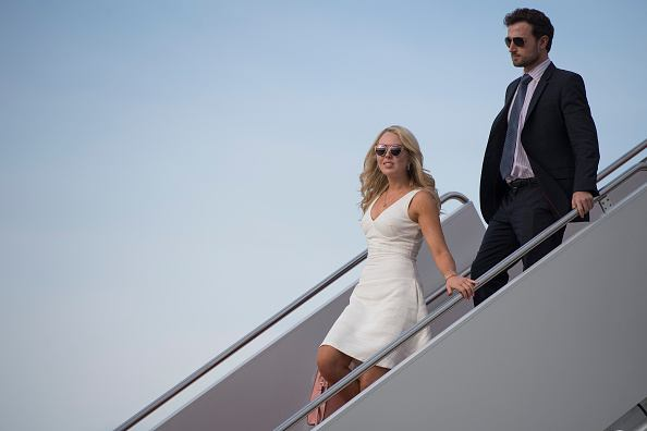 Tiffany Trump and her boyfriend Ross Mechanic walk off Air Force One at Andrews Air Force Base, MD, April 16, 2017.