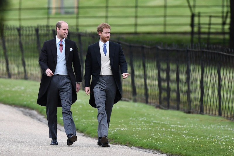 Britain's Prince Harry (R) and Britain's Prince William, Duke of Cambridge attend the wedding of Pippa Middleton and James Matthews