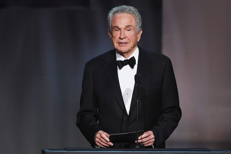 Actor Warren Beatty speaks onstage
