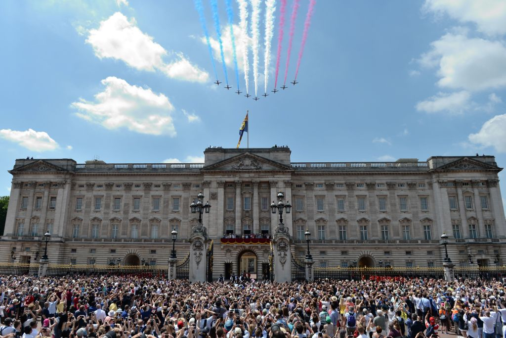 buckingham palace during the trooping of the colours