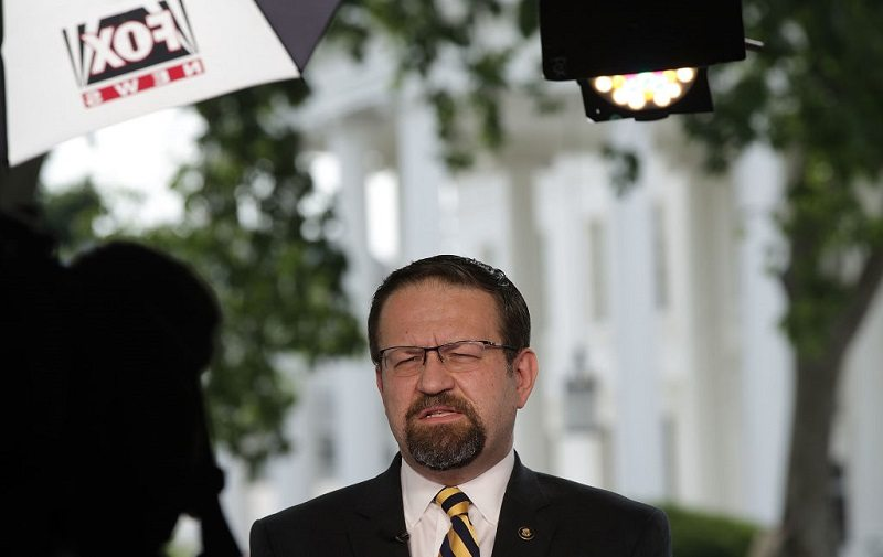 Sebastian Gorka warms up for an interview on Fox,