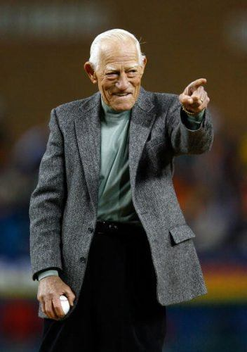 Former manager of the Detroit Tigers Sparky Anderson gestures prior to throwing out the cerimonial first pitch prior to Game Two of 2006 World Series between the Detroit Tigers and the St. Louis Cardinals October 22, 2006 at Comerica Park in Detroit, Michigan. (Photo by Jamie Squire/Getty Images)