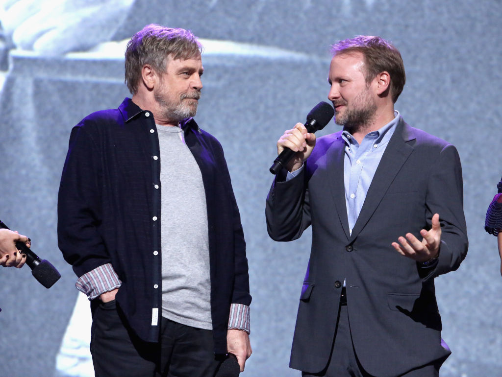 Mark Hamill (L) and Director Rian Johnson at a presentation for The Last Jedi
