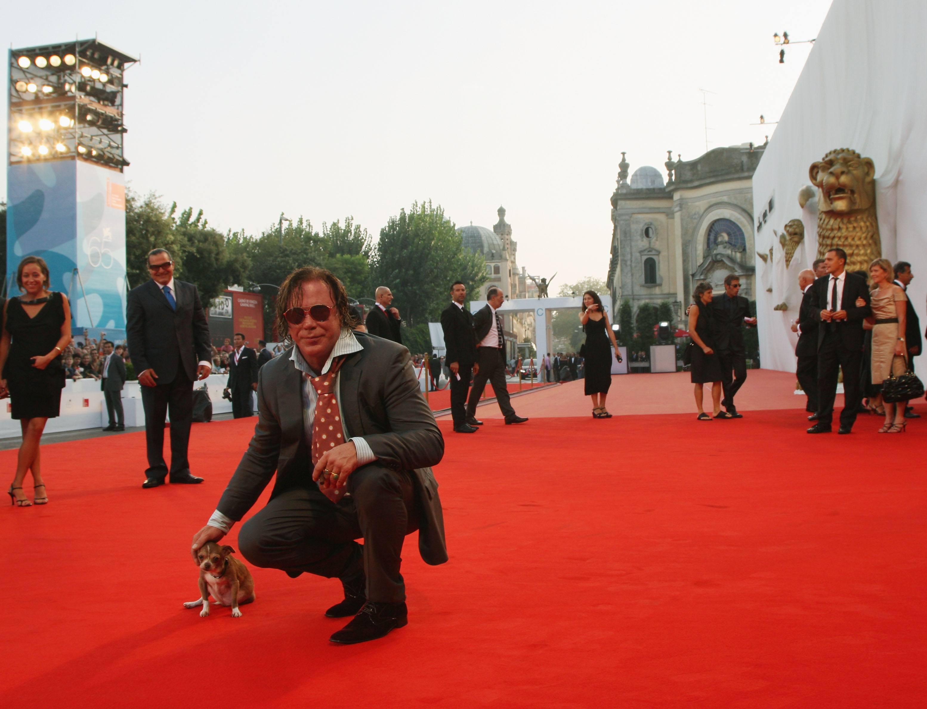 Actor Mickey Rourke and dog Loki attend the 65th Venice Film Festival Closing Ceremony at the at the Sala Grande on September 6, 2008 in Venice, Italy.