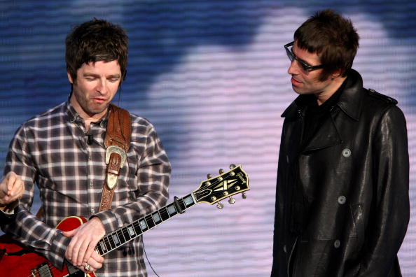 """MILAN, ITALY - NOVEMBER 09: Noel Gallagher and Liam Gallagher """"Che Tempo Che Fa"""" Italian TV Show on November 9, 2008 in Milan, Italy."""