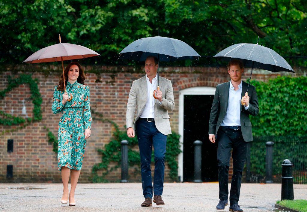 kate middleton, prince william and prince harry beneath umbrellas at kensington gardens
