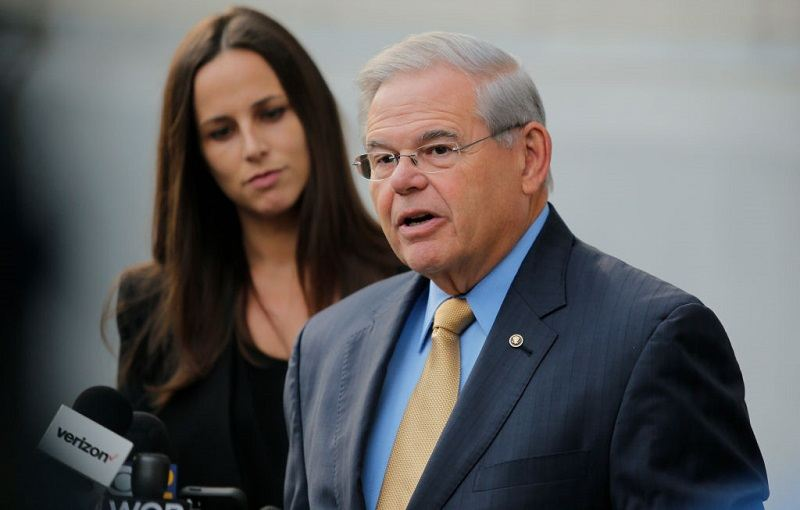 New Jersey Senator Robert Menendez (D-NJ) addressing the media outside federal court in Newark, September 2017.