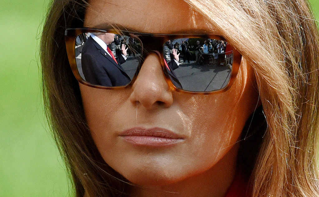 melania trump close-up of donald in her glasses