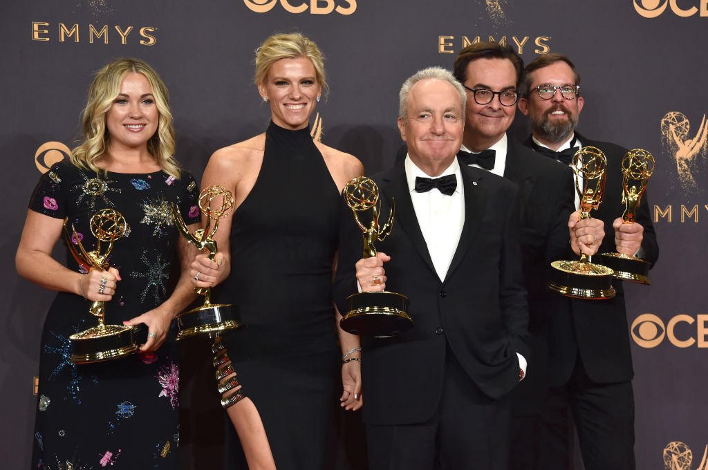 Lindsay Shookus poses with fellow SNL producers in the press room during the 69th Annual Primetime Emmy Awards at Microsoft Theater on September 17, 2017 in Los Angeles, California.
