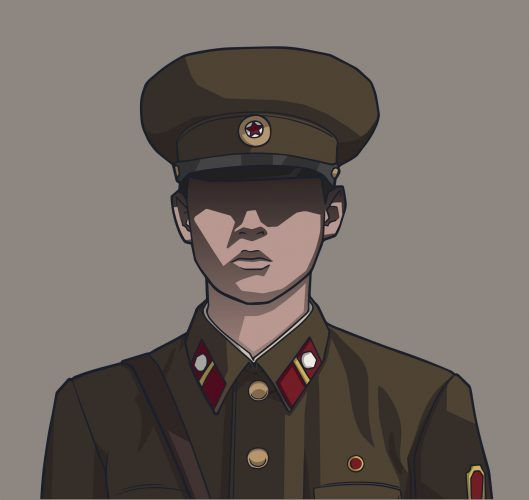 Fictional portrait of north korean male soldier