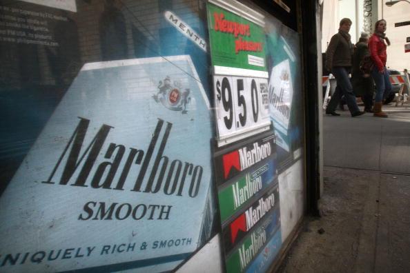 A kiosk advertising cigarettes
