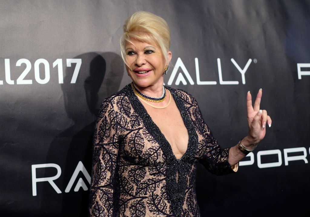ivana trump in a black and lace dress
