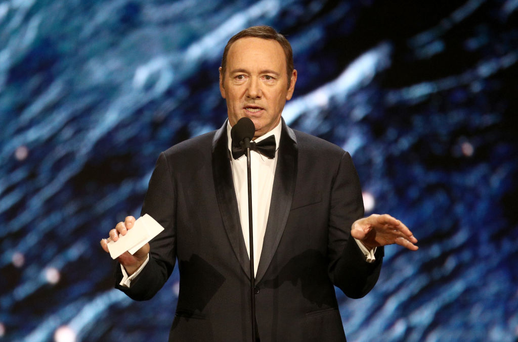 Kevin Spacey onstage at the 2017 AMD British Academy Britannia Awards on October 27, 2017 in Beverly Hills, California, days before the allegations were made public.