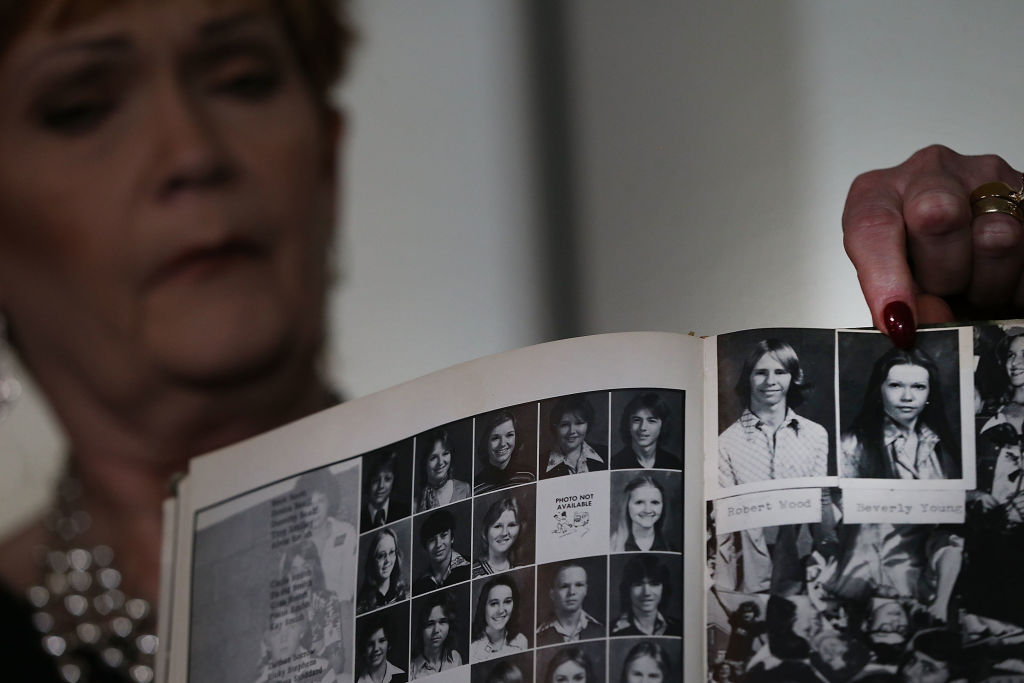 a high school yearbook in black and white