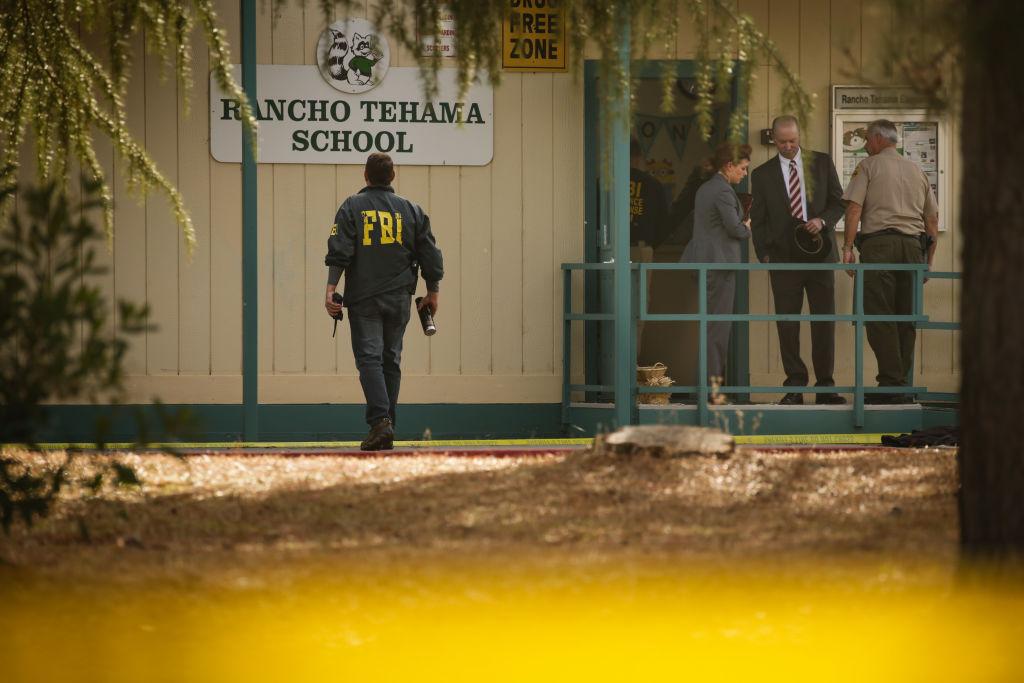 federal agents examine rancho tehama ma elementary school