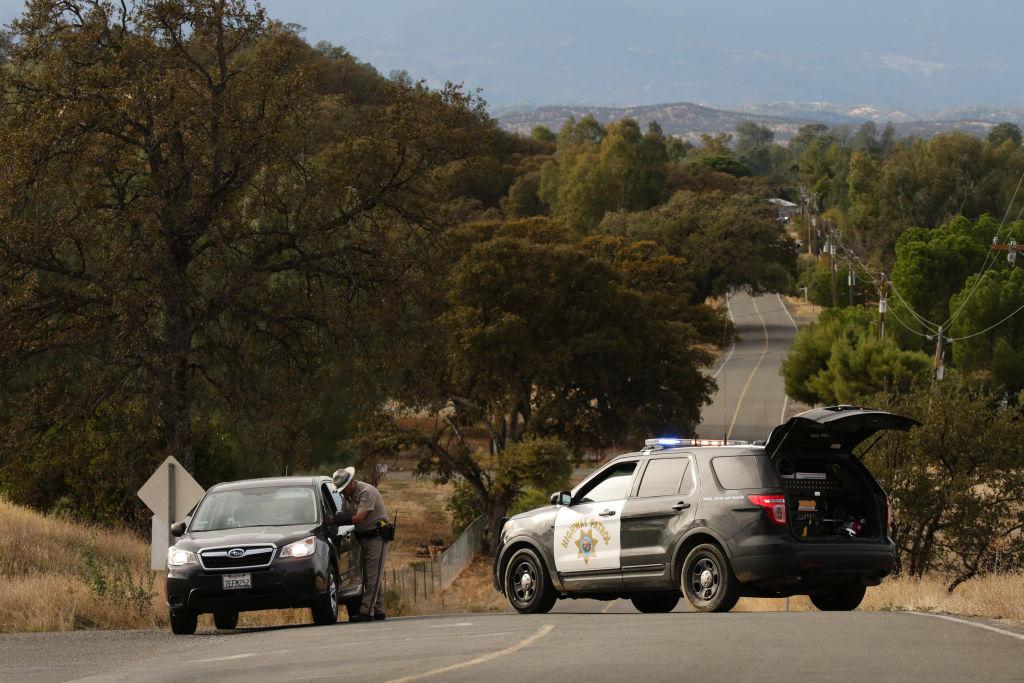a car blocks a roadway in rancho tahoma, calif