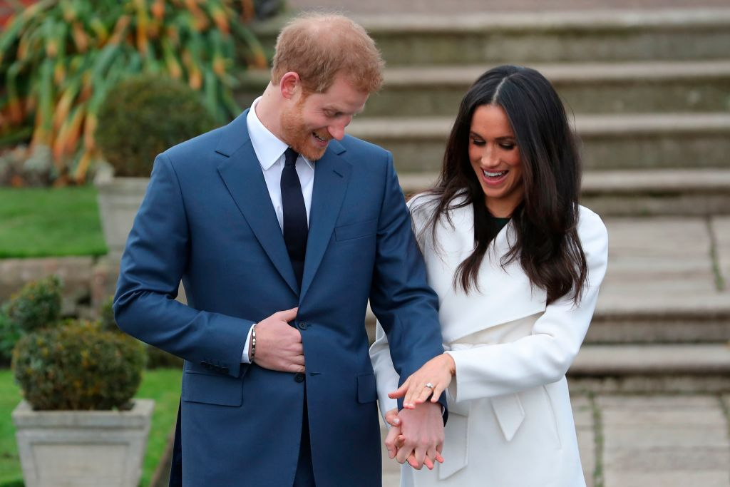 prince harry and meghan markle at their engagement announcement
