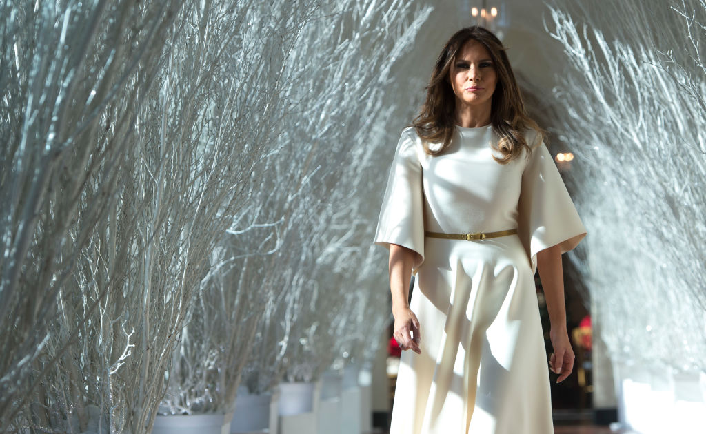 melania trump in white forest at white house