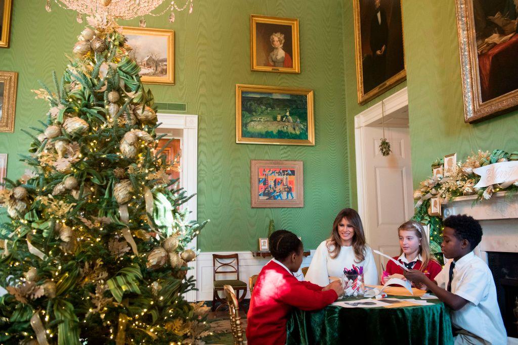 melania trump with children christmas trees