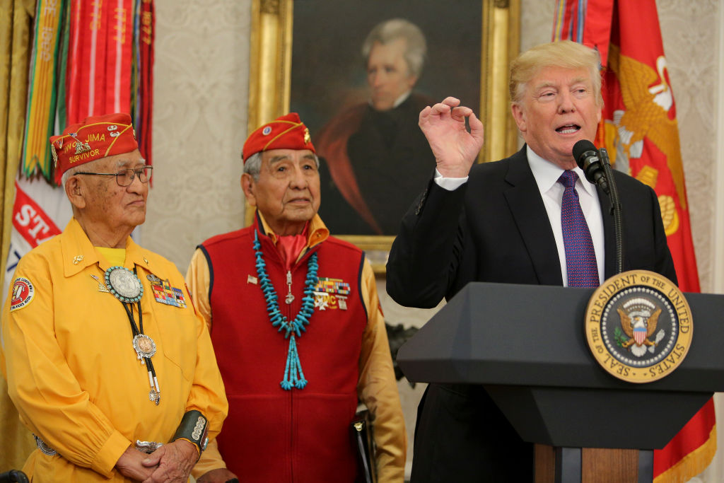 donald trump speaks with native american code talker veterans