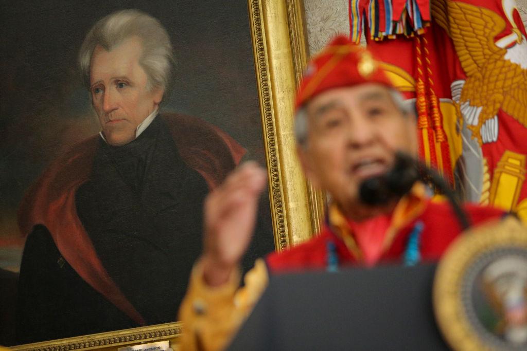 andrew jackson portrait behind a navajo code talker
