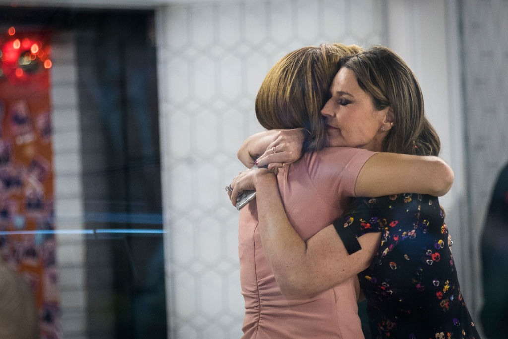 Today show hosts embrace after the first show without Lauer