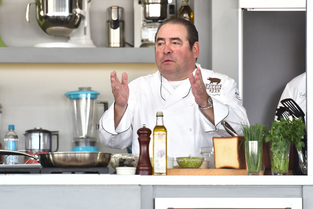 Emeril Lagasse gives a cooking demo on stage at Goya Foods' Grand Tasting Village