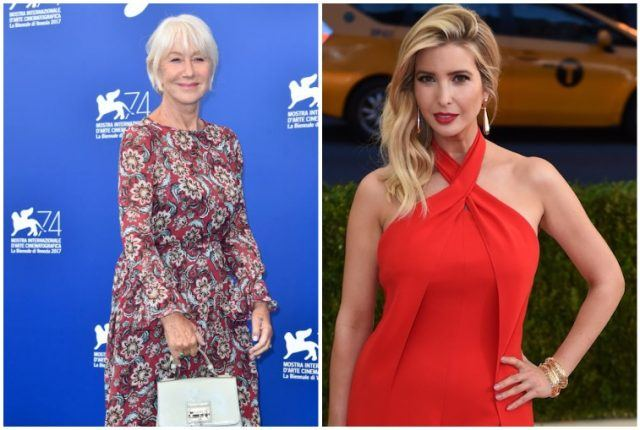Hellen Mirren and Ivanka Trump collage.