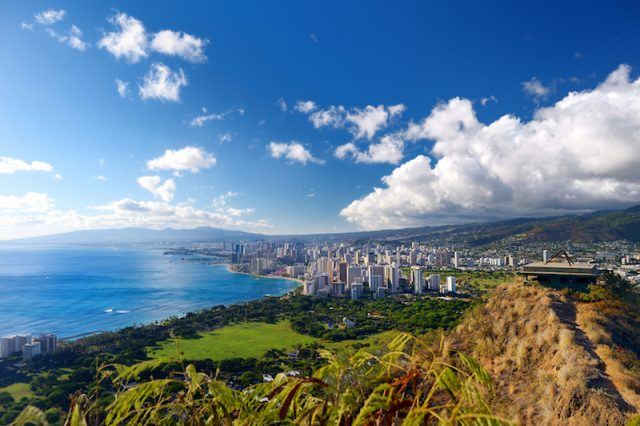 The city of Honolulu seen on a clear bright day.