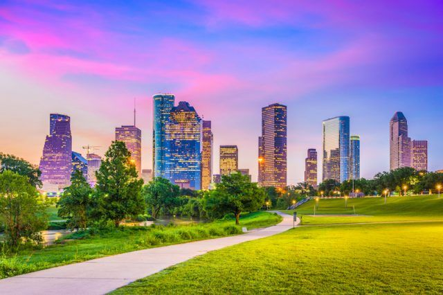 The city of Houston seen in the evening.