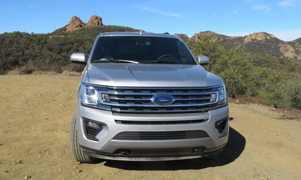 Front view of silver 2018 Ford Expedition in off-raod setting