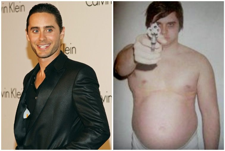 """Thin Jared Leto on the left, Jared Leto after 60-pound weight gain for his role in """"Chapter 27"""" on right"""