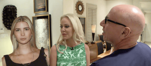 Jenny Stuart stands with her plastic surgeon while being compared to a cut out of Ivanka Trump.