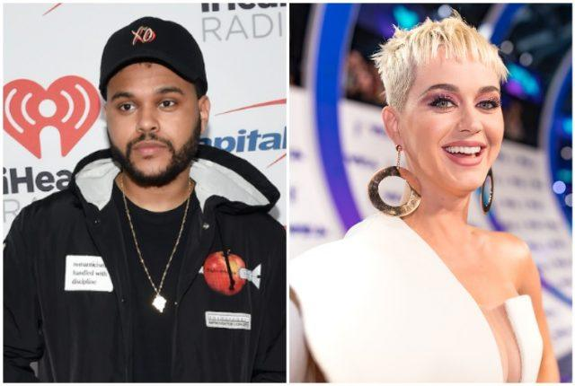 A side-by-side image of The Weeknd and Katy Perry