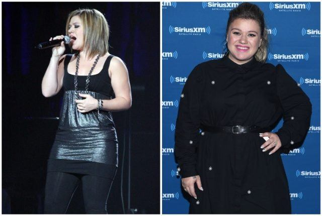 Kelly Clarkson weight gain collage.