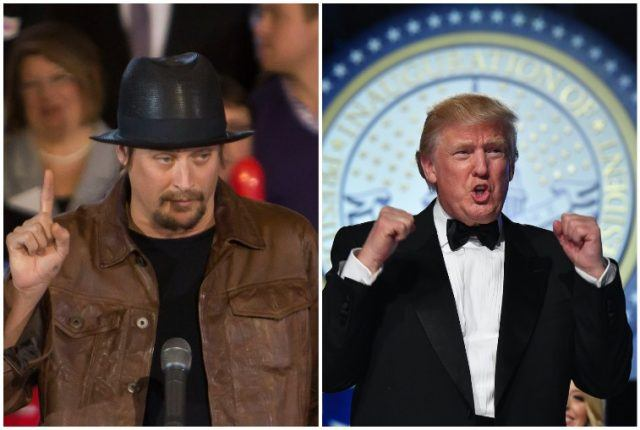 Collage featuring Kid Rock and Donald Trump.