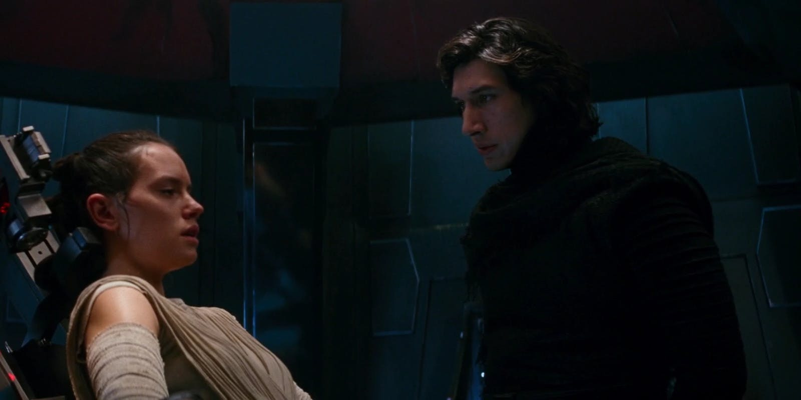 Kylo interrogates Rey in Star Wars: The Force Awakens