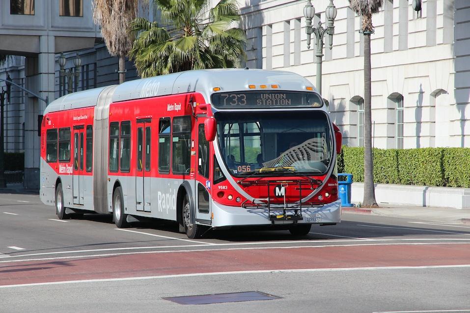 People ride a Metro bus in Los Angele
