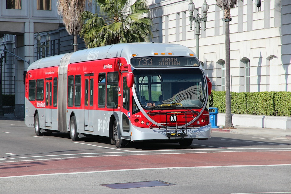 People ride a Metro bus in Los Angele